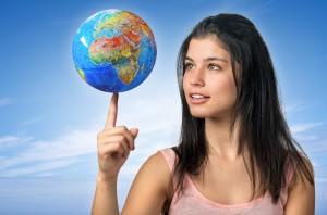 Girl and Globe
